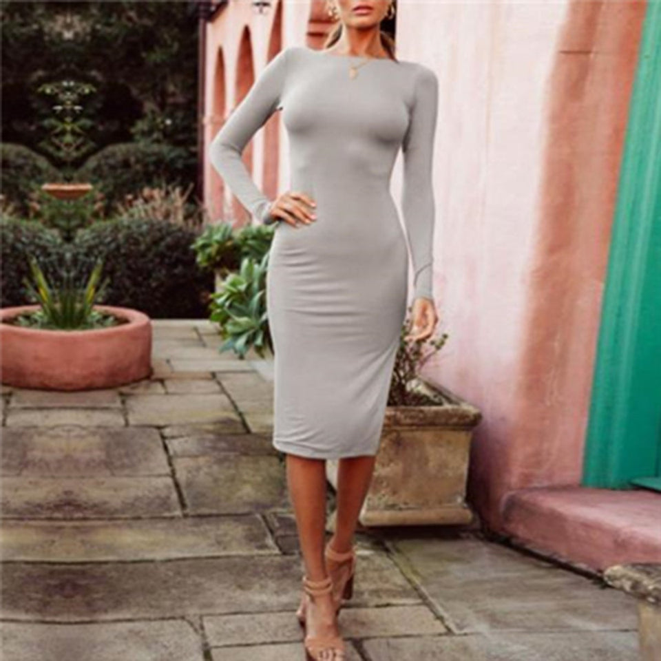 Fashion Slim Backless Bodycon Dress gray m