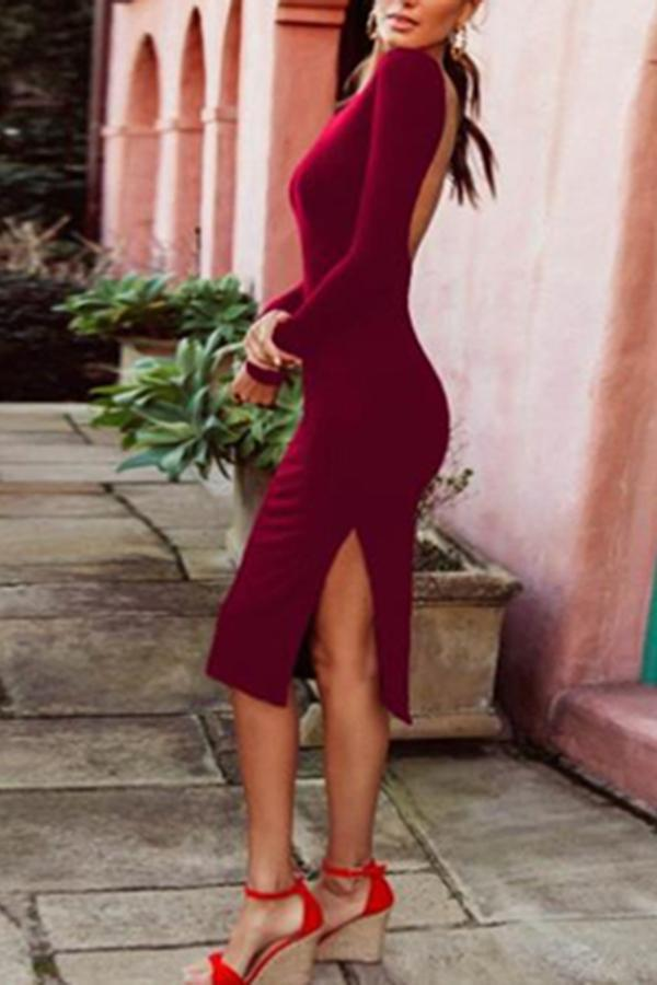 Fashion Slim Backless Bodycon Dress claret s