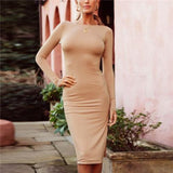 Fashion Slim Backless Bodycon Dress gray xl