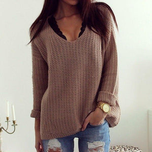 Retro Casual Popular Hollow V Neck Loose Long-Sleeved Sweater same_as_photo l