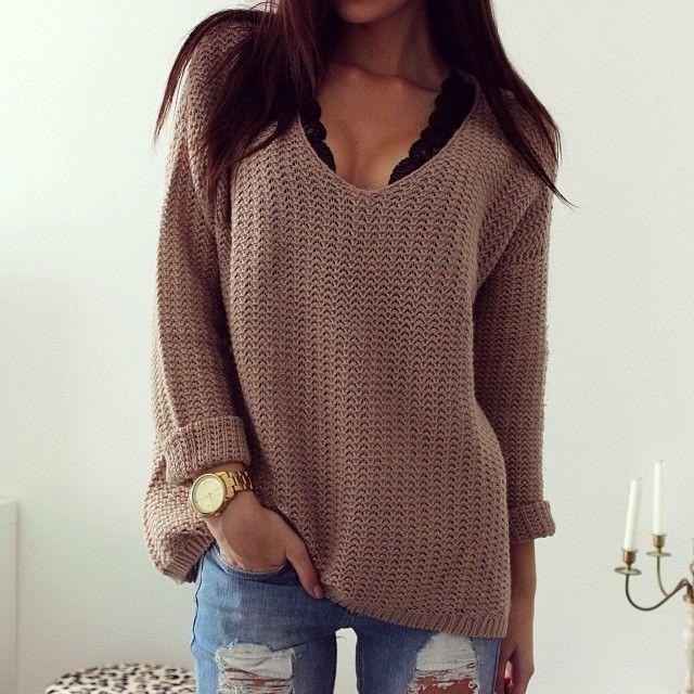 Retro Casual Popular Hollow V Neck Loose Long-Sleeved Sweater same_as_photo m