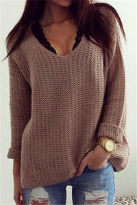 Retro Casual Popular Hollow V Neck Loose Long-Sleeved Sweater same_as_photo s