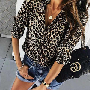 Fashion Leopard Print Long-Sleeved Shirts brown_leopard_print l