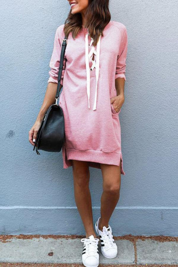 Deep V Neck  Asymmetric Hem Lace Up  Plain  Long Sleeve Casual Dresses pink s