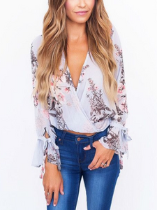 Floral Print Long Sleeved V Neck Shirt
