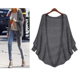 The Bat Sleeve Cardigan Loose Overcoat Sweater black one size