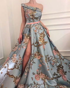Sexy Elegant Single Shoulder Printing Long Evening Dress blue xl
