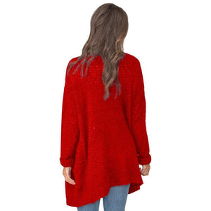 Long Sleeve Plain Pocket Casual Cardigans red xl