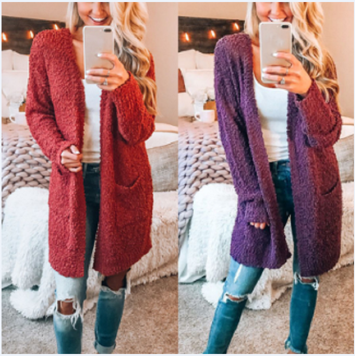 Long Sleeve Plain Pocket Casual Cardigans red m