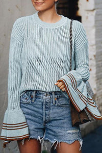 Round Neck  Plain Sweaters Light Blue s