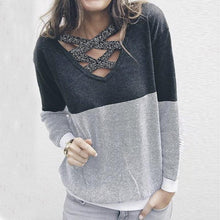 Tie And Splice Round Collar Long Sleeve Sweater