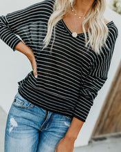 Fashion Trend Loose Stripe V Collar Bat Long-Sleeved Top