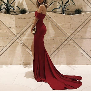 Off-Shoulder Split Hem Maxi Evening Dress red m