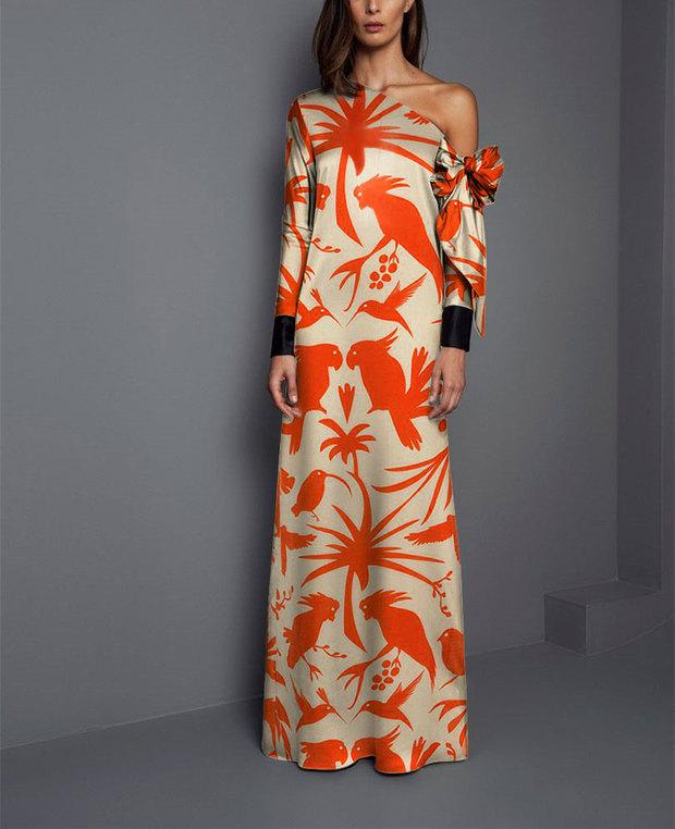 Sexy Shoulder Print Long Sleeved Maxi Dress same_as_photo m