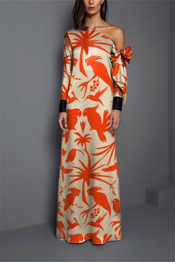 Sexy Shoulder Print Long Sleeved Maxi Dress same_as_photo s