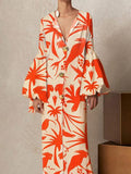 V Collar Long-Sleeved Printing Loose Casual Maxi Dress same_as_photo xl