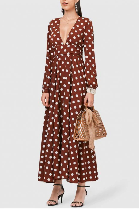 Sexy Deep V Collar Dot Defined Waist Maxi Dress red l
