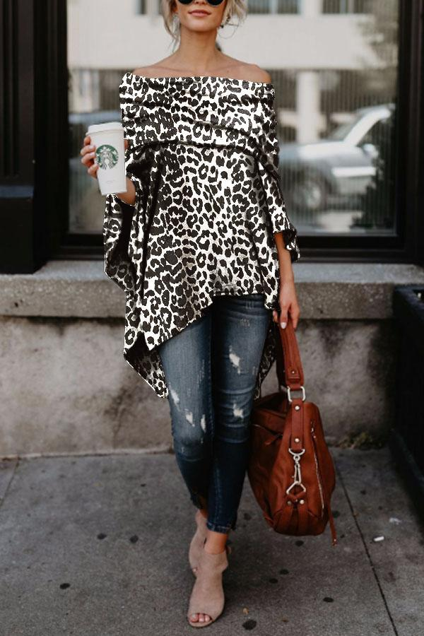 Off Shoulder  Leopard Printed Asymmetric T-Shirts white_black s