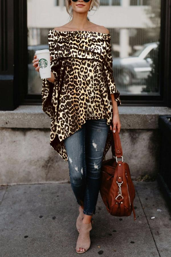 Off Shoulder  Leopard Printed Asymmetric T-Shirts brown_leopard_print s