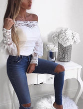 White Shoulder Horn Sleeve Lace Top
