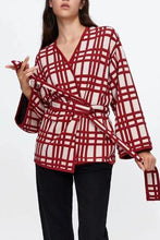 Chic Casual Loose Plaid Lace-Up Waistband Long Sleeve Cardigan