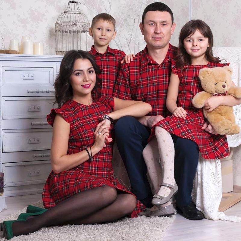 Plaid Falbala Family Outfits Red boy-90