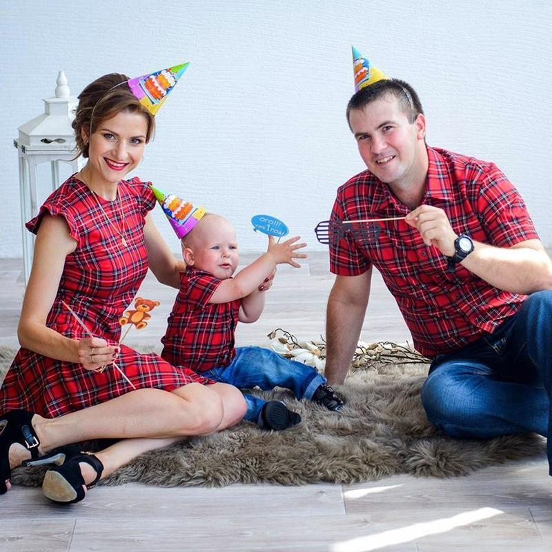 Plaid Falbala Family Outfits Red boy-100