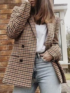 Vintage Notch Lapel  Double Breasted  Plaid Blazers same_as_photo l