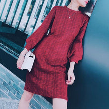 Round Neck Lantern Sleeve Knit Dress