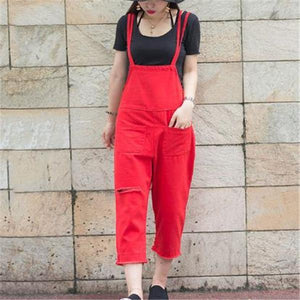 Fashion Red Loose Plain Jumpsuit red l