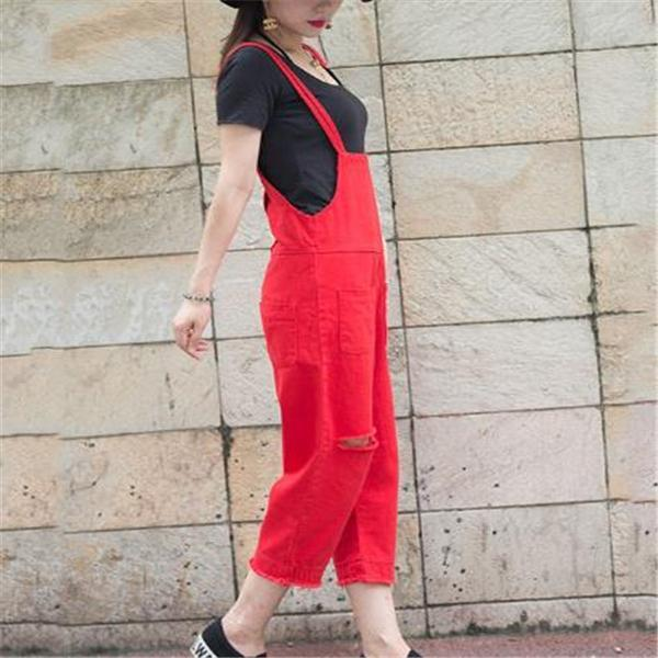 Fashion Red Loose Plain Jumpsuit red m
