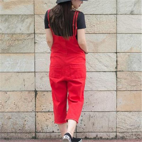 Fashion Red Loose Plain Jumpsuit red xl