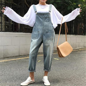 Fashion Loose Plain Cowboy Jumpsuit same_as_photo m