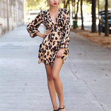 Fashion Sexy Leopard Print With Long-Sleeved Mini Dress
