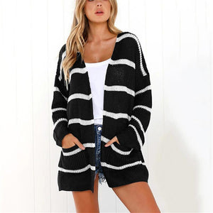 Long-Sleeved Cardigan Striped Autumn Winter Sweater black m