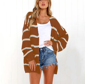Long-Sleeved Cardigan Striped Autumn Winter Sweater coffee s