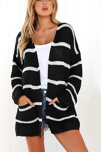 Long-Sleeved Cardigan Striped Autumn Winter Sweater black s