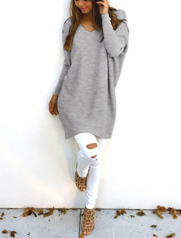Loose Casual Pure Color Long-Sleeved Sweater white 3xl