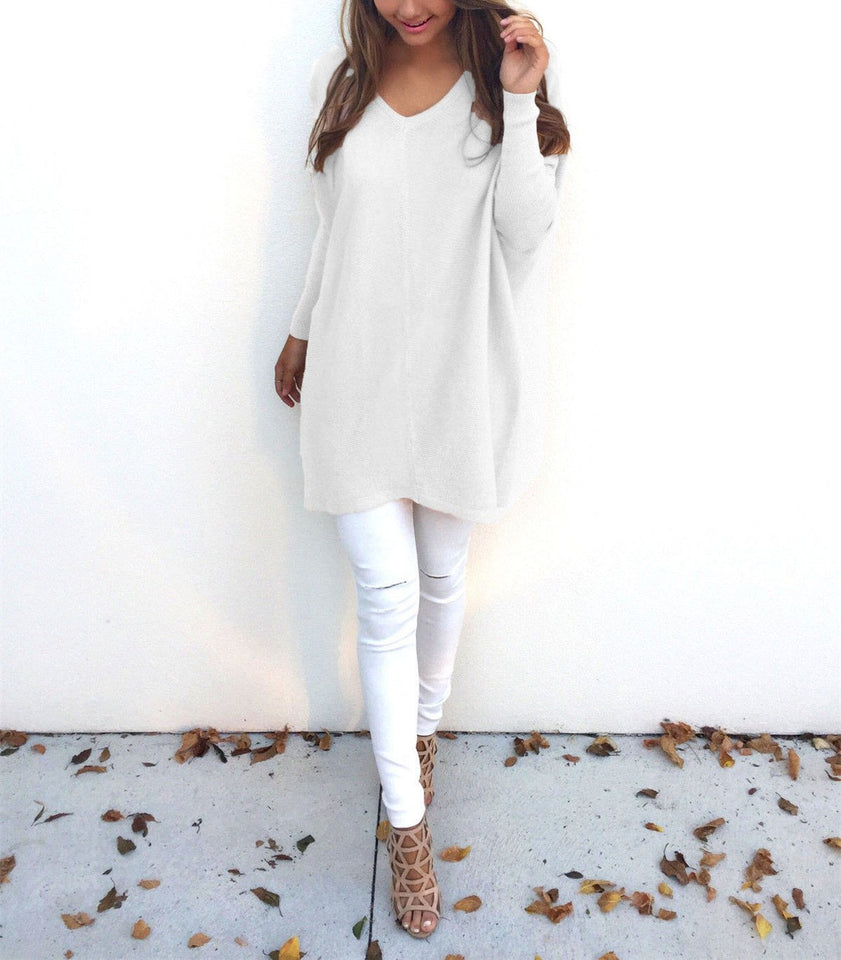 Loose Casual Pure Color Long-Sleeved Sweater white m