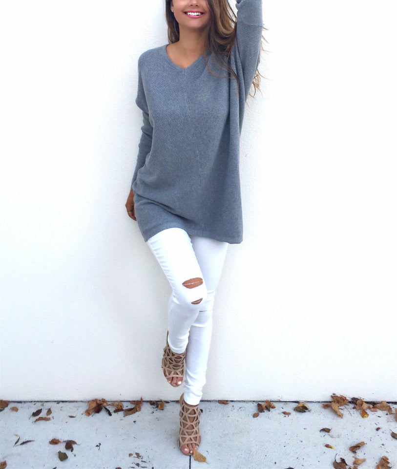 Loose Casual Pure Color Long-Sleeved Sweater pink l