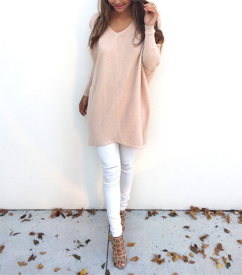 Loose Casual Pure Color Long-Sleeved Sweater white xl