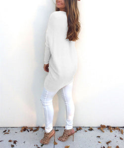 Loose Casual Pure Color Long-Sleeved Sweater white l