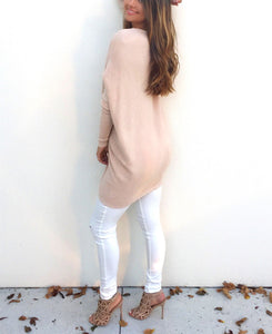 Loose Casual Pure Color Long-Sleeved Sweater white 2xl