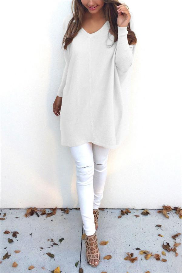 Loose Casual Pure Color Long-Sleeved Sweater white s
