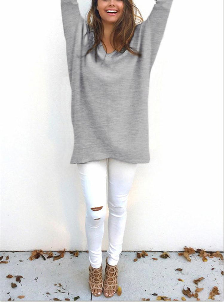 Loose Casual Pure Color Long-Sleeved Sweater pink s