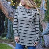 Striped Print Long-Sleeved Leisure T-Shirt gray m