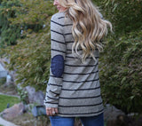 Striped Print Long-Sleeved Leisure T-Shirt gray xl