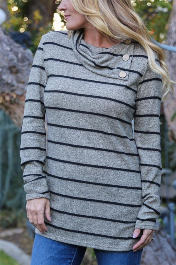 Striped Print Long-Sleeved Leisure T-Shirt gray s