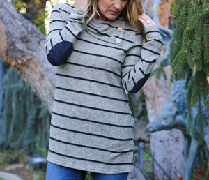 Striped Print Long-Sleeved Leisure T-Shirt gray l