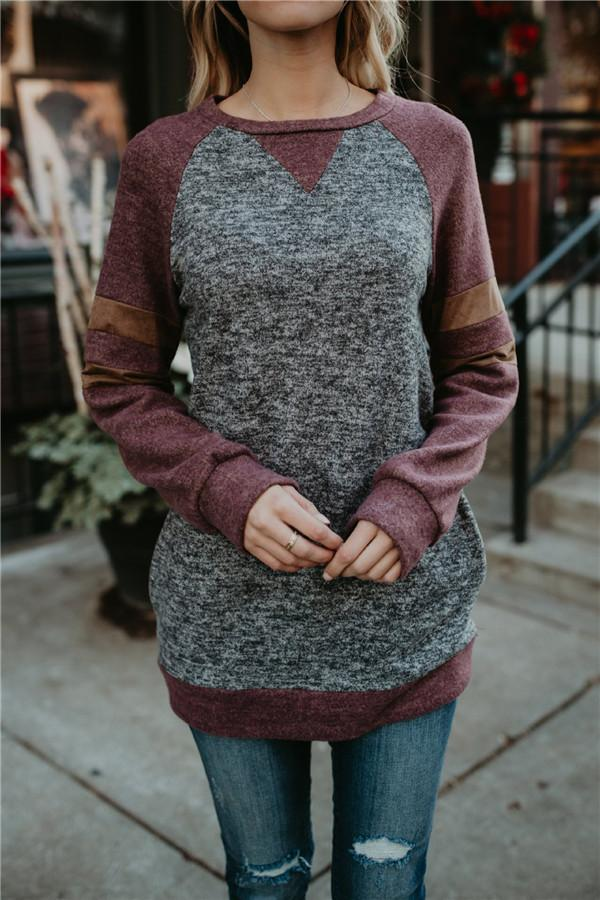 Fashion Spelling Pocket Long Sleeve Top gray s